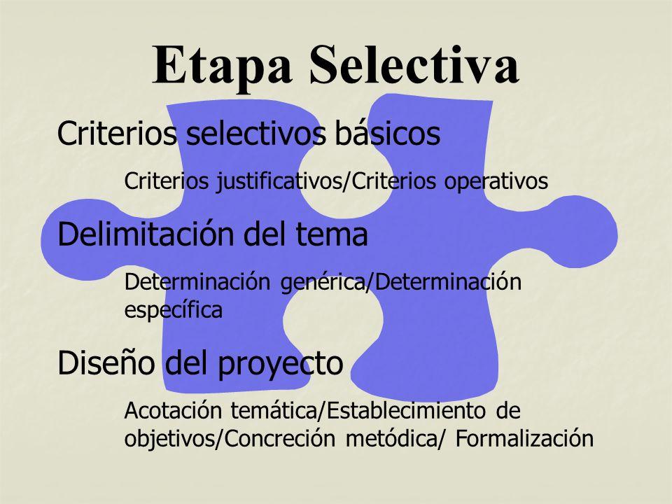 Etapa Selectiva Criterios selectivos básicos Delimitación del tema