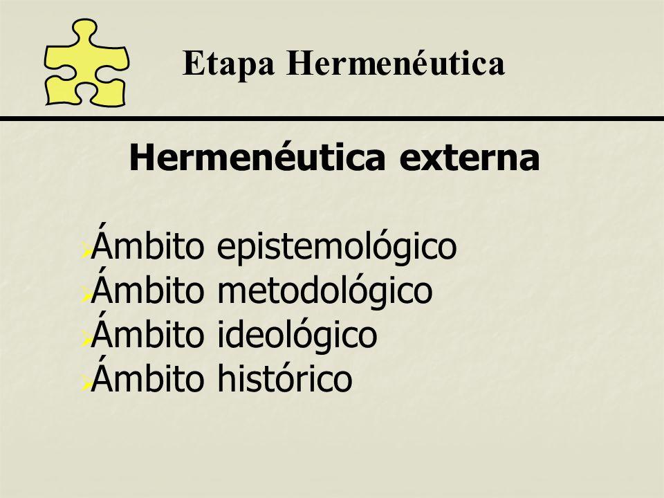 Etapa Hermenéutica Hermenéutica externa. Ámbito epistemológico. Ámbito metodológico. Ámbito ideológico.
