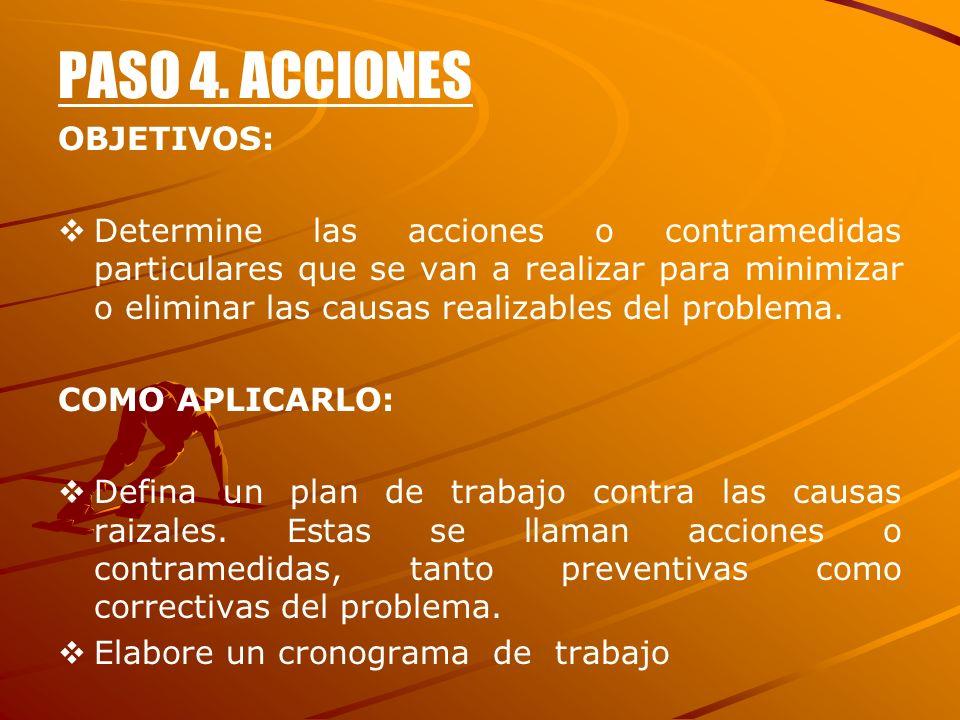 PASO 4. ACCIONES OBJETIVOS: