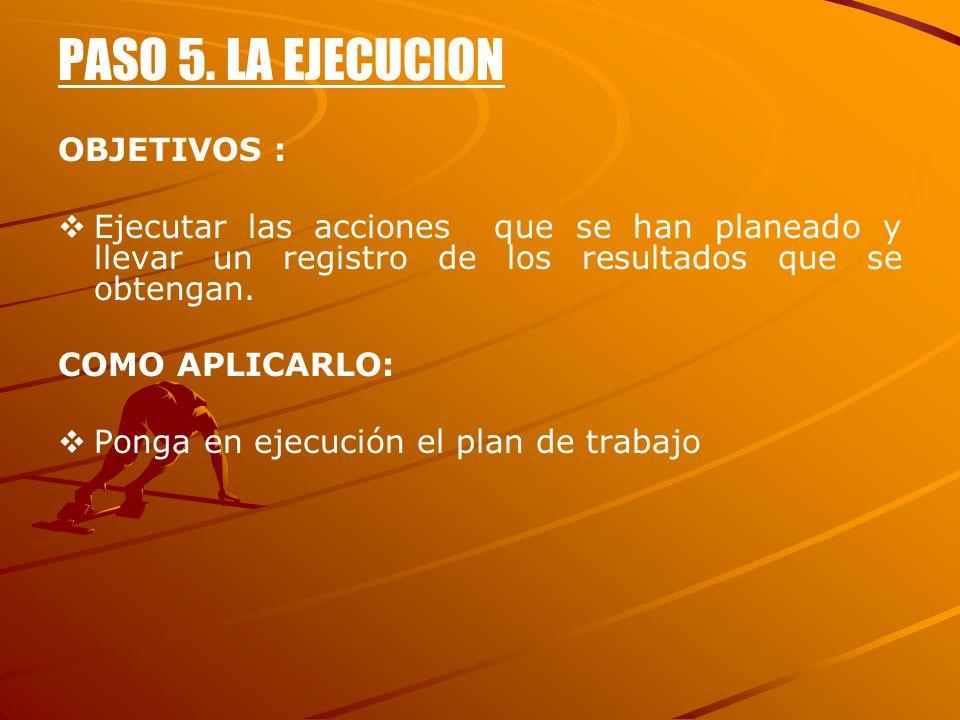 PASO 5. LA EJECUCION OBJETIVOS :