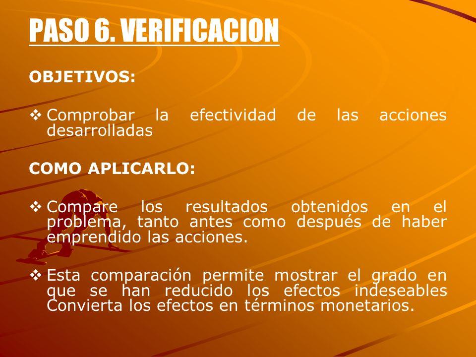 PASO 6. VERIFICACION OBJETIVOS:
