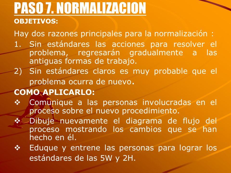 PASO 7. NORMALIZACION OBJETIVOS: Hay dos razones principales para la normalización :