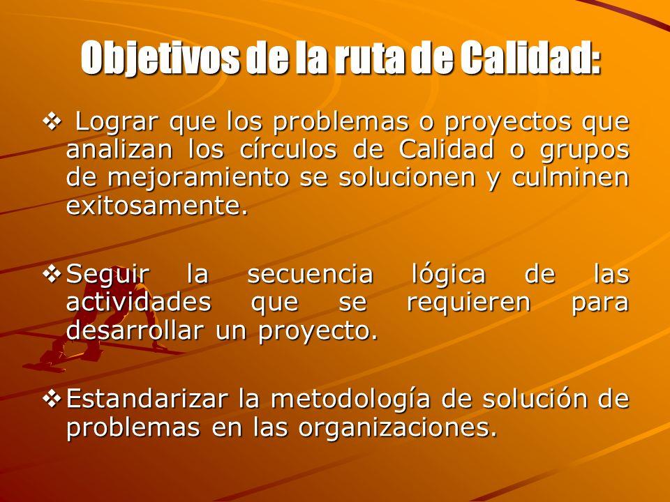 Objetivos de la ruta de Calidad: