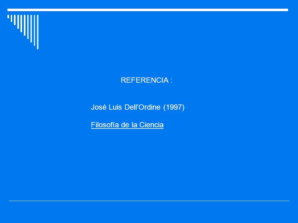 REFERENCIA : José Luis Dell'Ordine (1997) Filosofía de la Ciencia