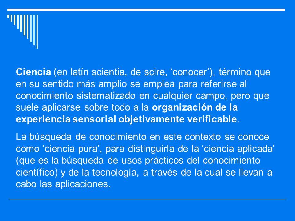 Ciencia (en latín scientia, de scire, 'conocer'), término que en su sentido más amplio se emplea para referirse al conocimiento sistematizado en cualquier campo, pero que suele aplicarse sobre todo a la organización de la experiencia sensorial objetivamente verificable.