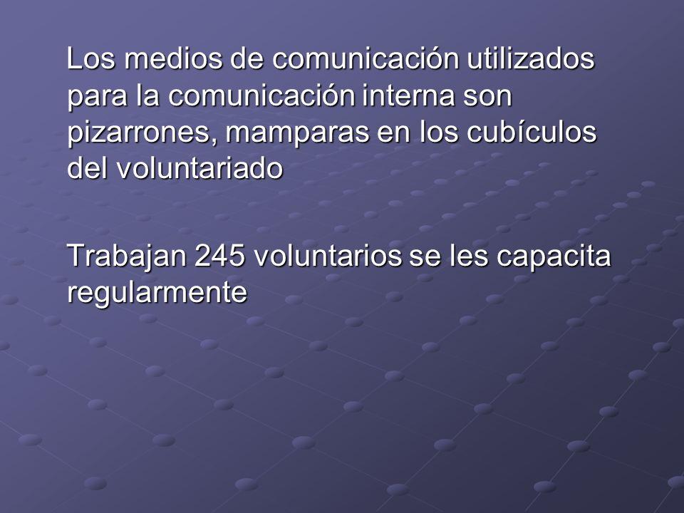 Los medios de comunicación utilizados para la comunicación interna son pizarrones, mamparas en los cubículos del voluntariado