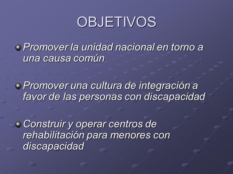 OBJETIVOS Promover la unidad nacional en torno a una causa común