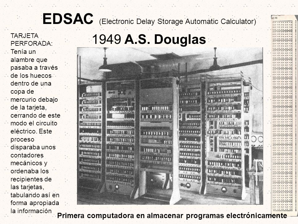 EDSAC (Electronic Delay Storage Automatic Calculator) 1949 A. S