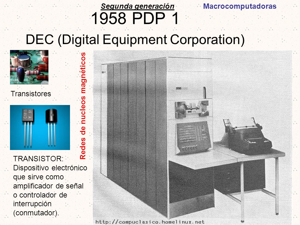 1958 PDP 1 DEC (Digital Equipment Corporation)