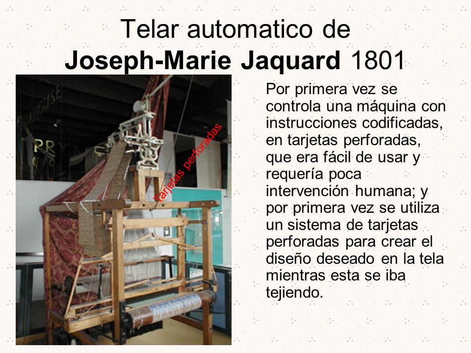 Telar automatico de Joseph-Marie Jaquard 1801