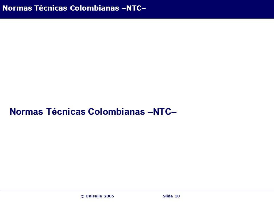 Normas Técnicas Colombianas –NTC–