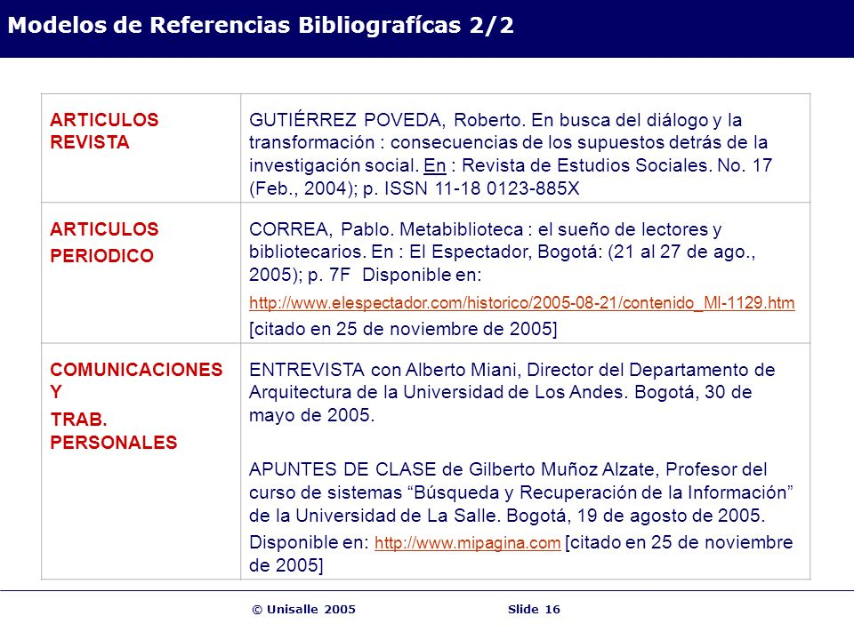 Modelos de Referencias Bibliografícas 2/2