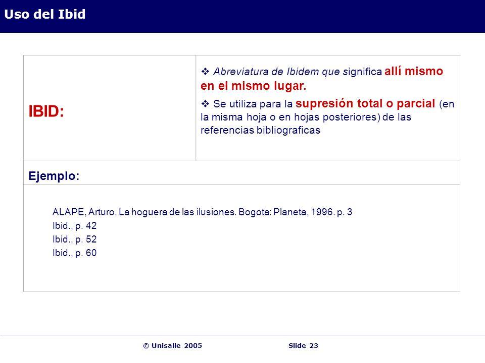 IBID: Uso del Ibid Ejemplo: