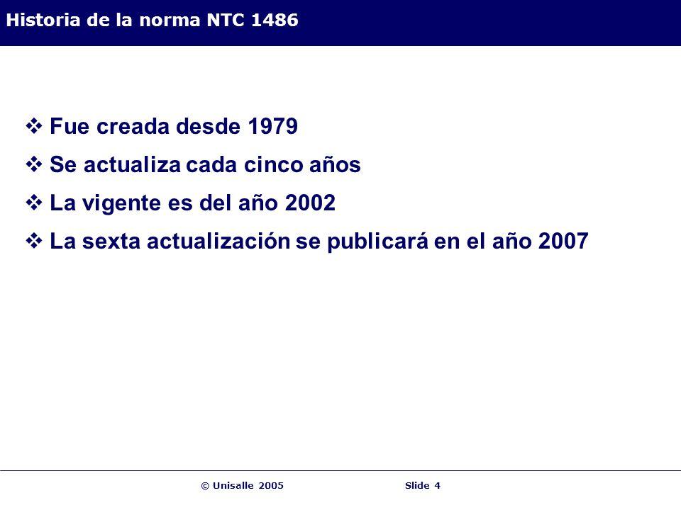 Historia de la norma NTC 1486