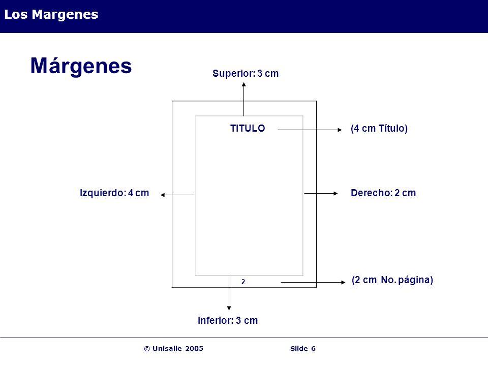Márgenes Los Margenes Superior: 3 cm TITULO (4 cm Título)