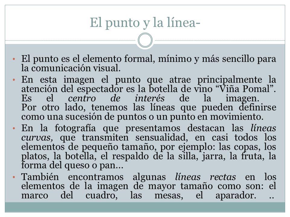 El punto y la línea- El punto es el elemento formal, mínimo y más sencillo para la comunicación visual.