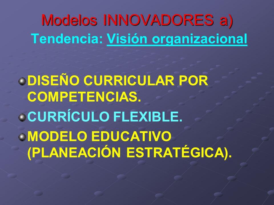 Modelos INNOVADORES a) Tendencia: Visión organizacional