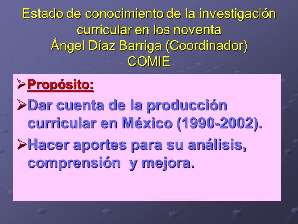 Dar cuenta de la producción curricular en México (1990-2002).