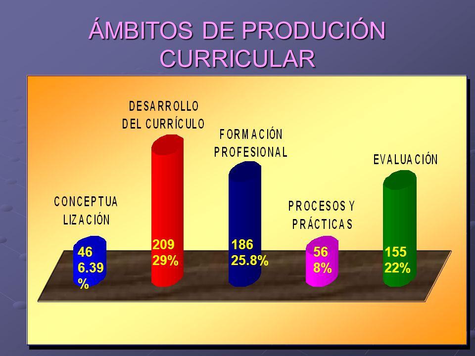 ÁMBITOS DE PRODUCIÓN CURRICULAR