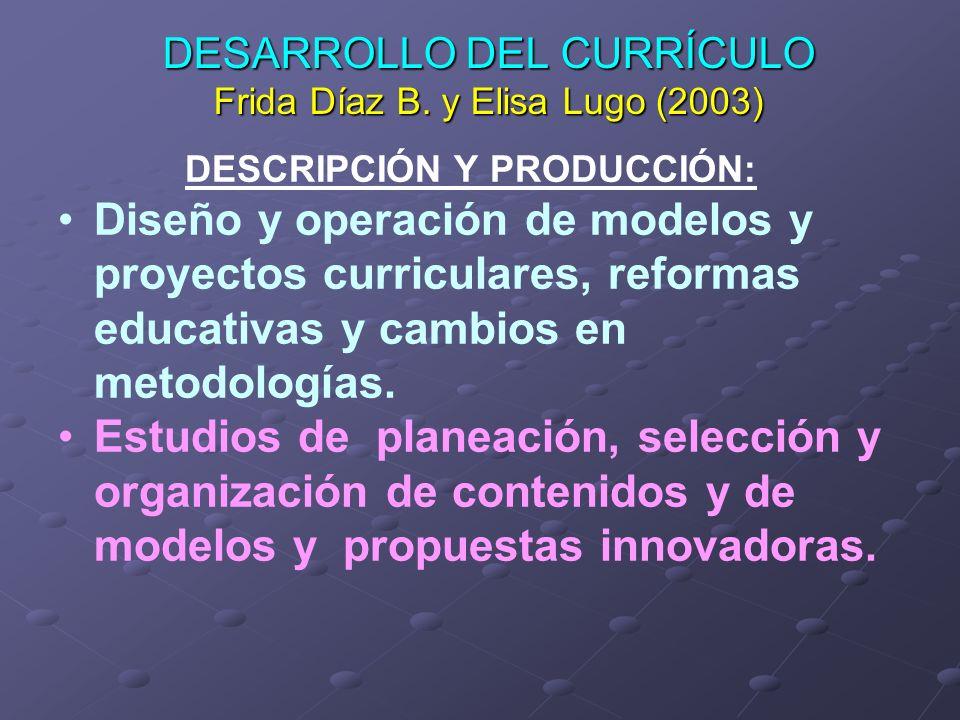 DESARROLLO DEL CURRÍCULO Frida Díaz B. y Elisa Lugo (2003)