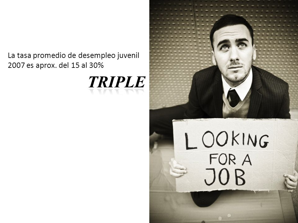 TRIPLE La tasa promedio de desempleo juvenil