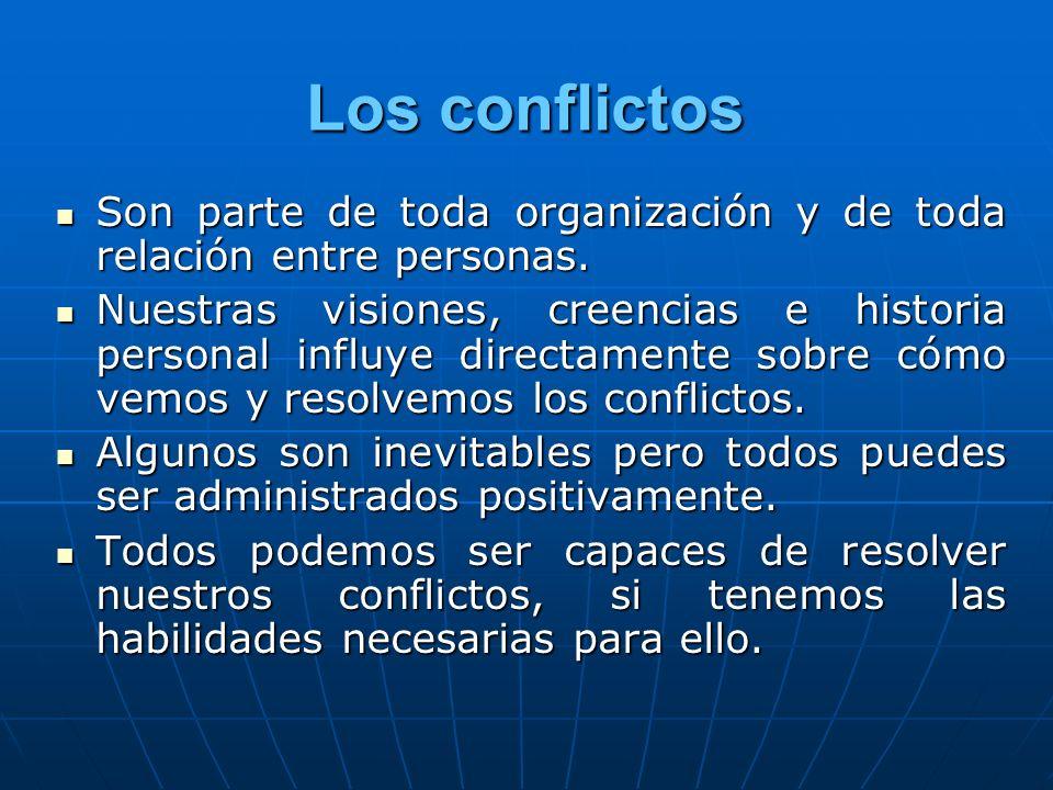 Los conflictosSon parte de toda organización y de toda relación entre personas.