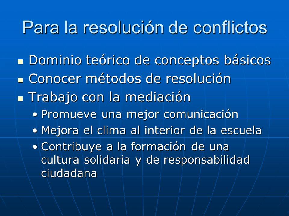 Para la resolución de conflictos