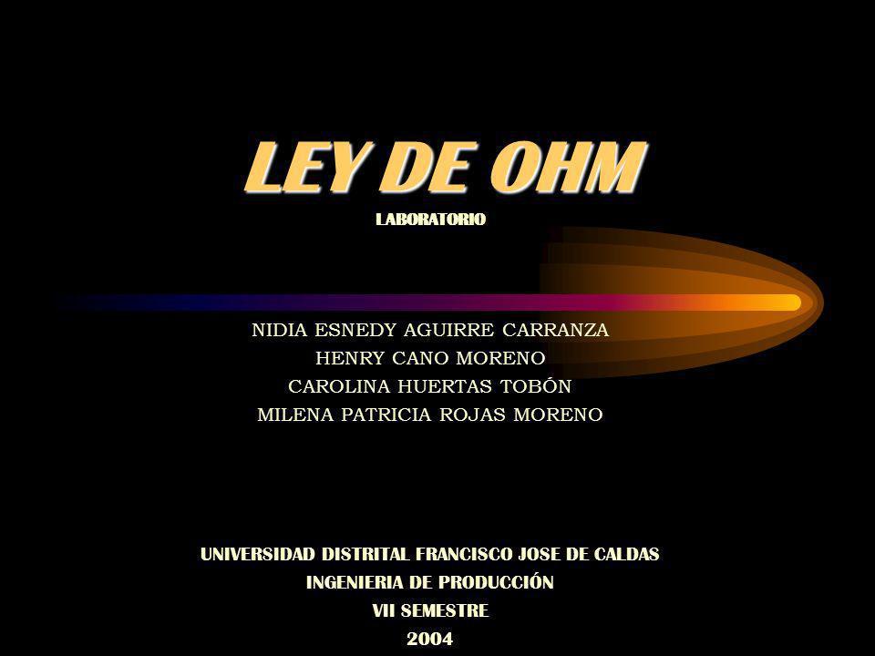 LEY DE OHM NIDIA ESNEDY AGUIRRE CARRANZA HENRY CANO MORENO