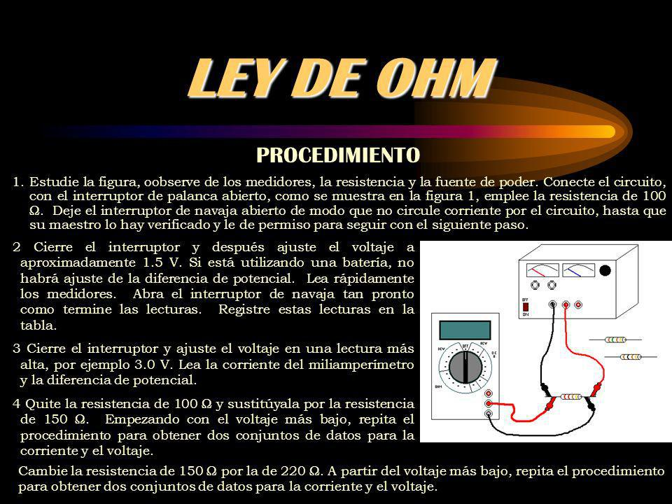 LEY DE OHM PROCEDIMIENTO