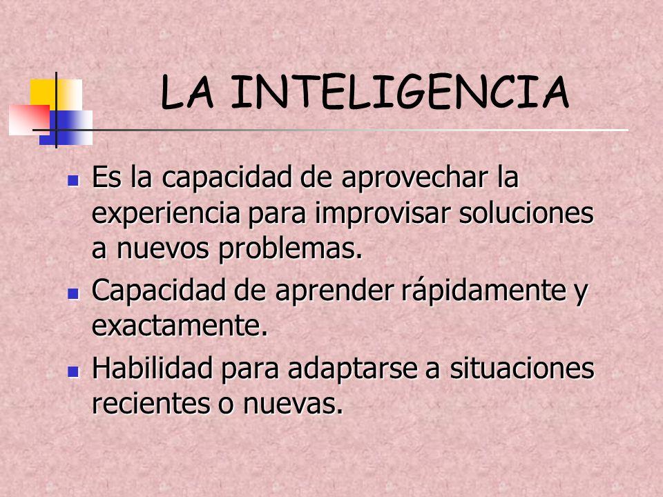 LA INTELIGENCIA Es la capacidad de aprovechar la experiencia para improvisar soluciones a nuevos problemas.