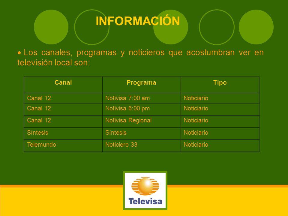 INFORMACIÓNLos canales, programas y noticieros que acostumbran ver en televisión local son: Canal. Programa.