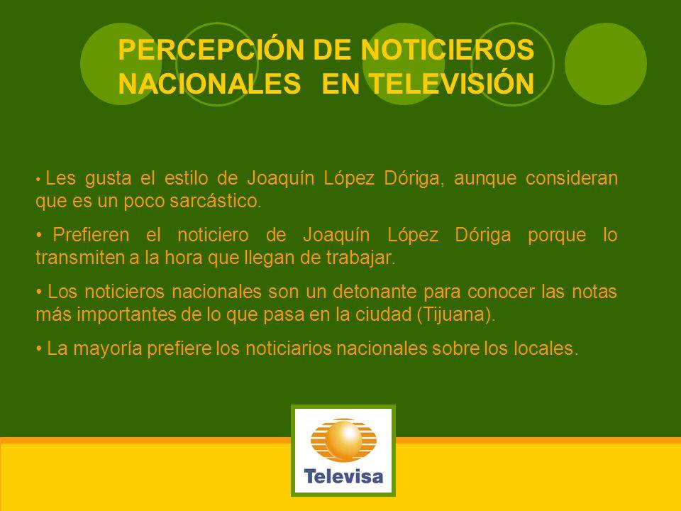 PERCEPCIÓN DE NOTICIEROS NACIONALES EN TELEVISIÓN