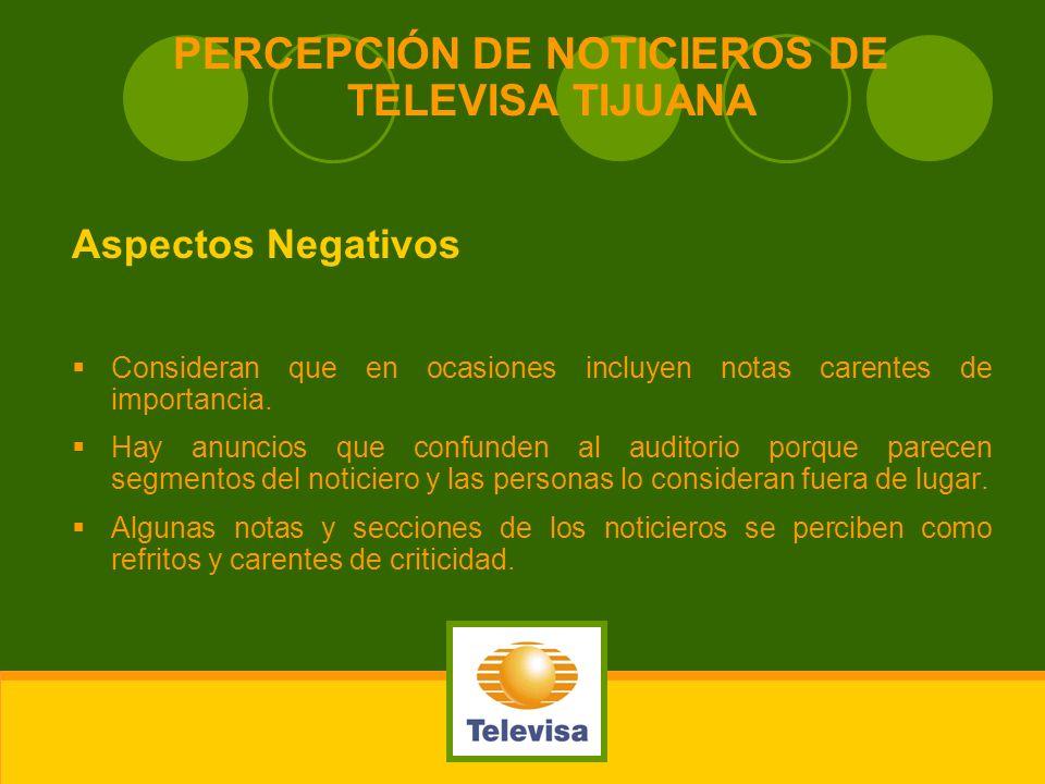 PERCEPCIÓN DE NOTICIEROS DE TELEVISA TIJUANA