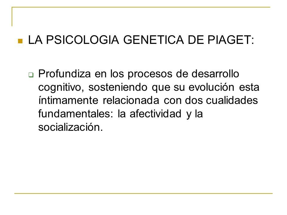 LA PSICOLOGIA GENETICA DE PIAGET: