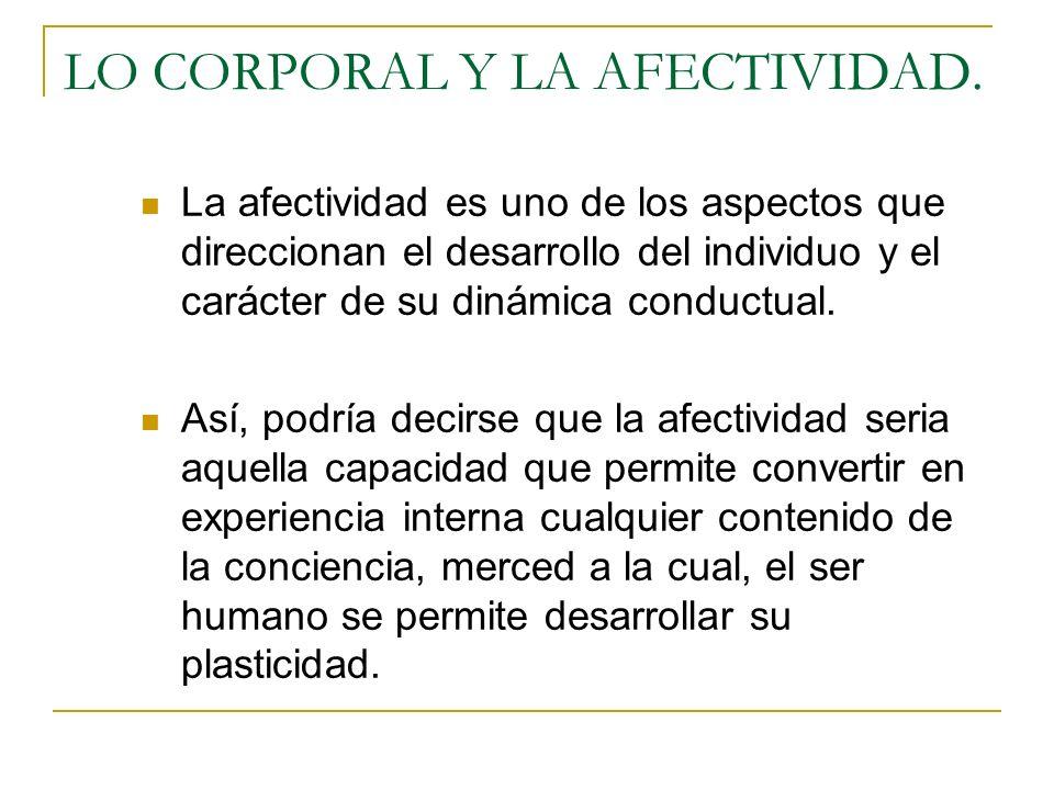 LO CORPORAL Y LA AFECTIVIDAD.