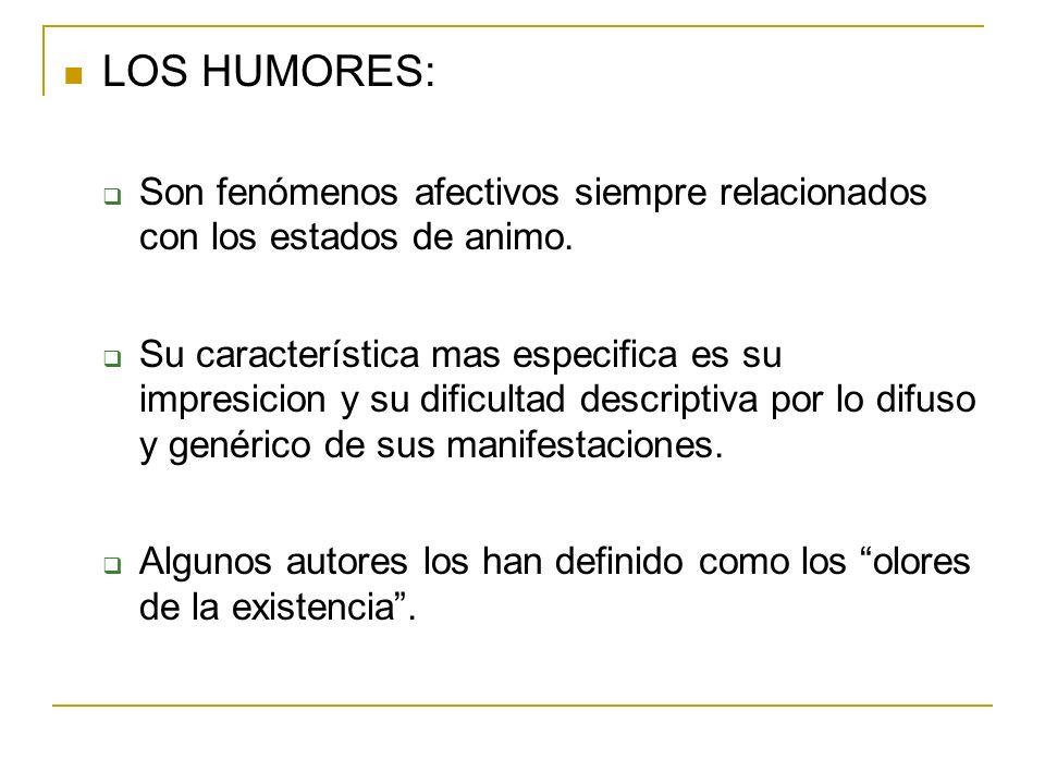 LOS HUMORES:Son fenómenos afectivos siempre relacionados con los estados de animo.