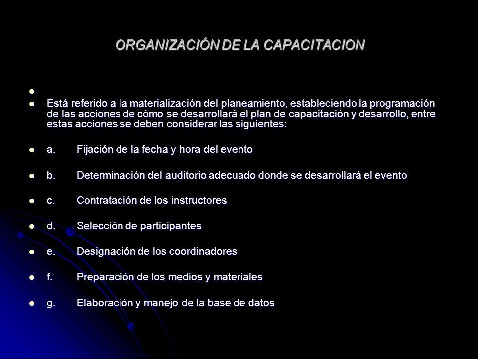 ORGANIZACIÓN DE LA CAPACITACION