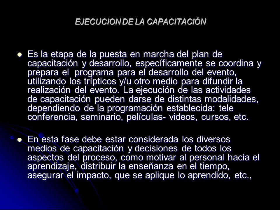 EJECUCION DE LA CAPACITACIÓN