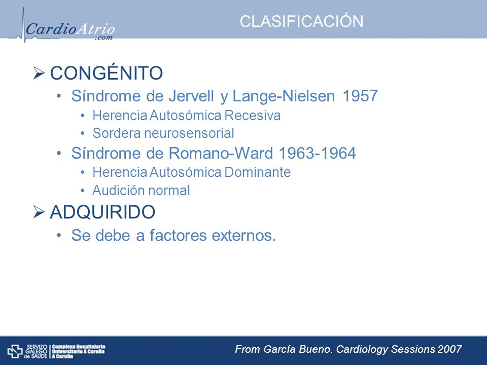 CONGÉNITO ADQUIRIDO CLASIFICACIÓN