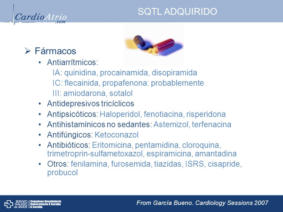 SQTL ADQUIRIDO Fármacos Antiarrítmicos: