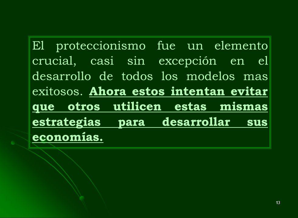 El proteccionismo fue un elemento crucial, casi sin excepción en el desarrollo de todos los modelos mas exitosos.