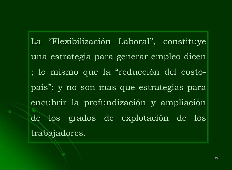 La Flexibilización Laboral , constituye una estrategia para generar empleo dicen ; lo mismo que la reducción del costo-país ; y no son mas que estrategias para encubrir la profundización y ampliación de los grados de explotación de los trabajadores.