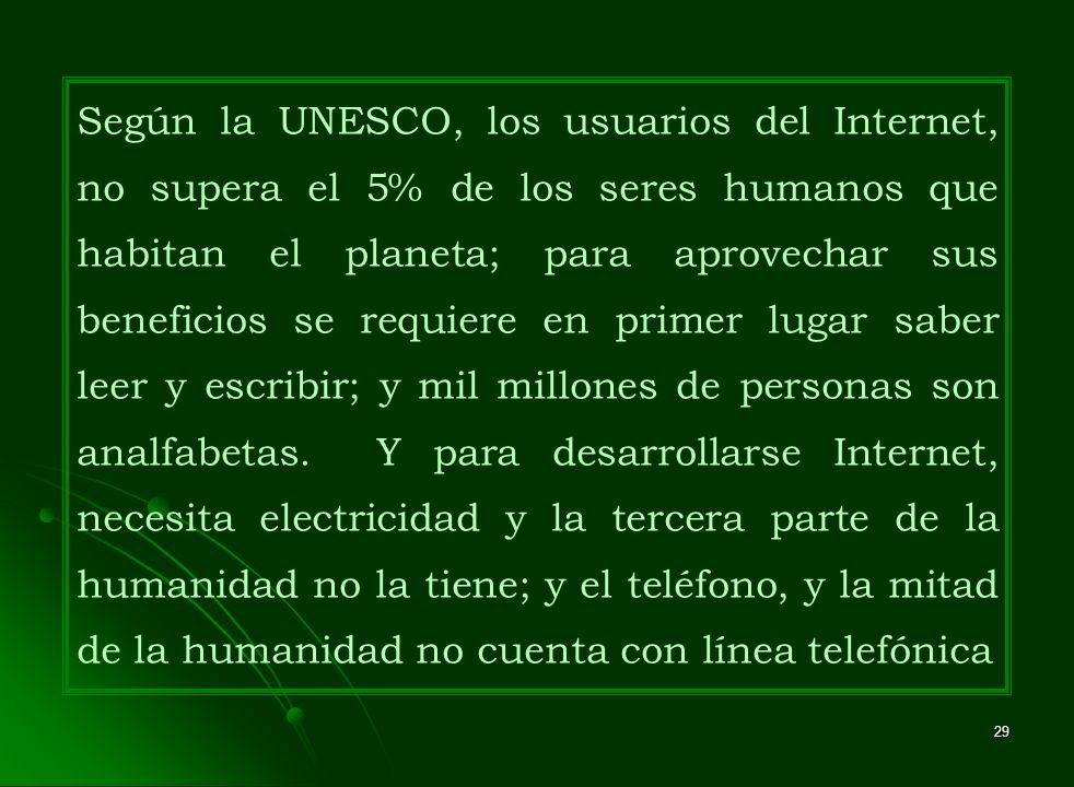 Según la UNESCO, los usuarios del Internet, no supera el 5% de los seres humanos que habitan el planeta; para aprovechar sus beneficios se requiere en primer lugar saber leer y escribir; y mil millones de personas son analfabetas.