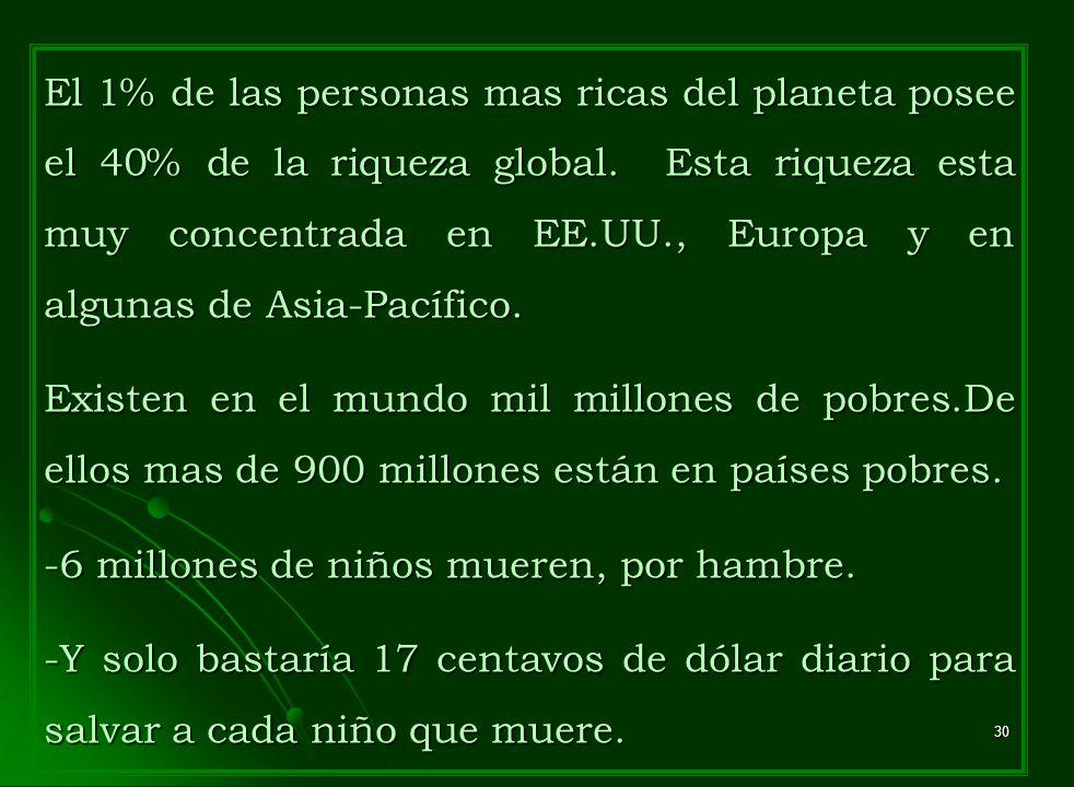 El 1% de las personas mas ricas del planeta posee el 40% de la riqueza global. Esta riqueza esta muy concentrada en EE.UU., Europa y en algunas de Asia-Pacífico.