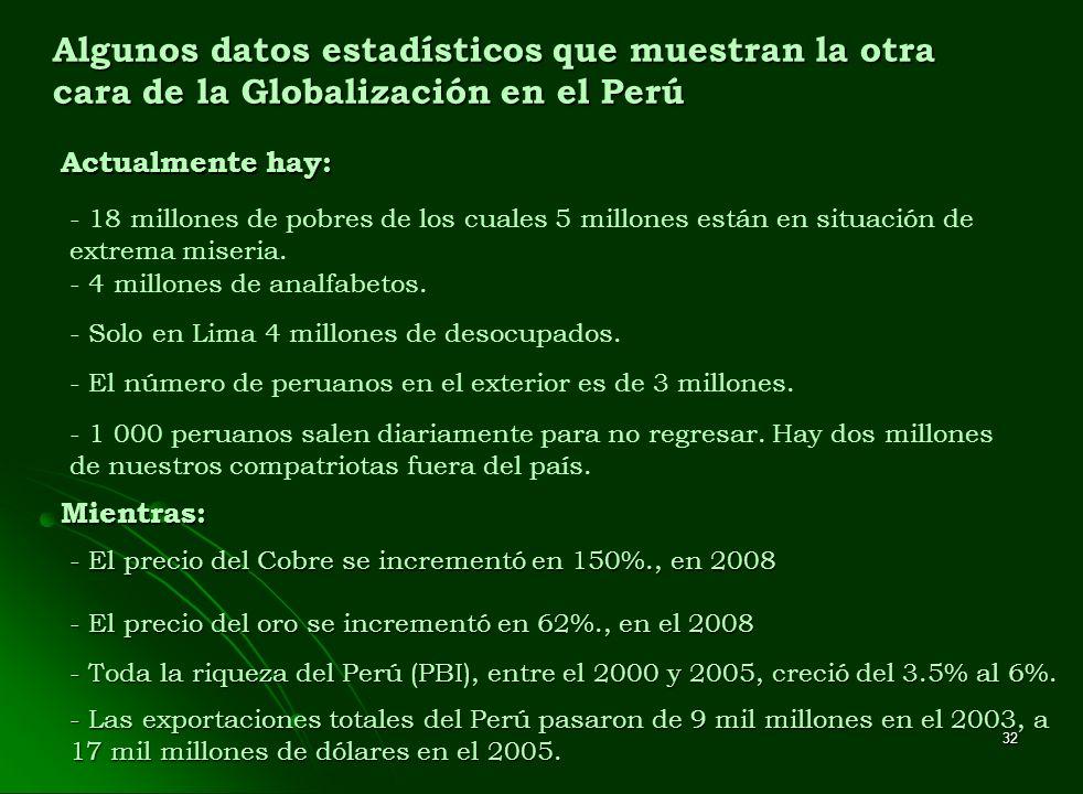 Algunos datos estadísticos que muestran la otra cara de la Globalización en el Perú