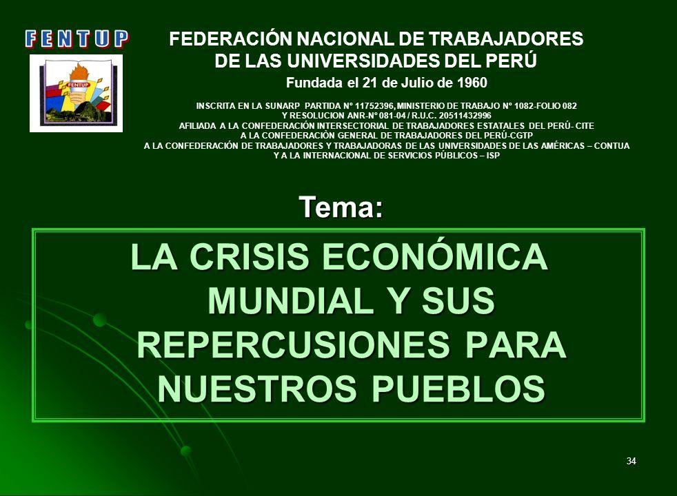 LA CRISIS ECONÓMICA MUNDIAL Y SUS REPERCUSIONES PARA NUESTROS PUEBLOS