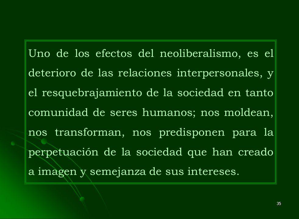 Uno de los efectos del neoliberalismo, es el deterioro de las relaciones interpersonales, y el resquebrajamiento de la sociedad en tanto comunidad de seres humanos; nos moldean, nos transforman, nos predisponen para la perpetuación de la sociedad que han creado a imagen y semejanza de sus intereses.