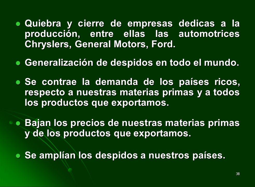 Quiebra y cierre de empresas dedicas a la producción, entre ellas las automotrices Chryslers, General Motors, Ford.