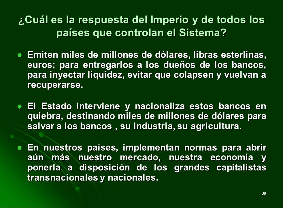¿Cuál es la respuesta del Imperio y de todos los países que controlan el Sistema
