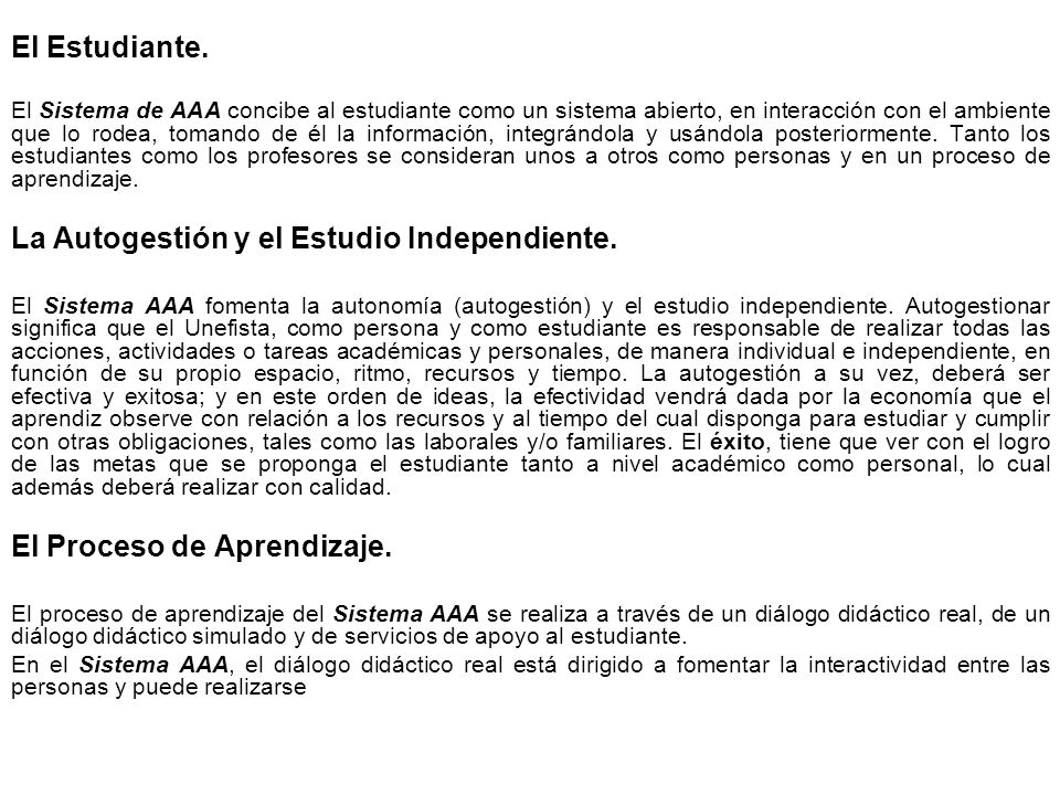 La Autogestión y el Estudio Independiente.